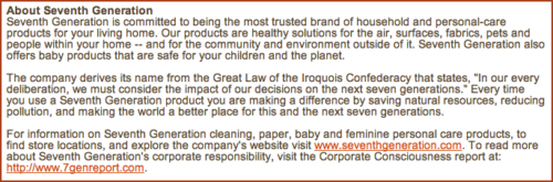 Seventh Generation's boilerplate discusses the origin of its name, which conveys the company's values.