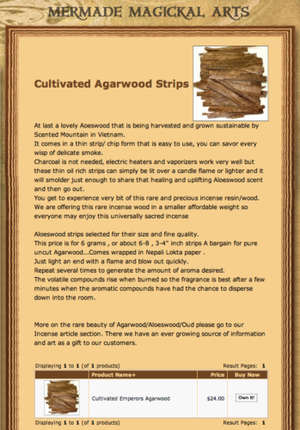 Sales page for agarwood strips