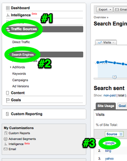 To look at search engine traffic from Google, click these.