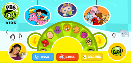 The front page of pbskids features navigation via a clickable wheel of