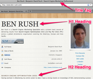 Example of a title tag, H1 and H2 heading on Ben-Rush.com